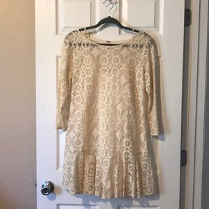 Free people cream lace mini dress